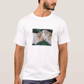 Borzoi-und Whippet Hundekunst-Damen-T - Shirt