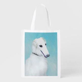 Borzoi-(weiße) Malerei - niedliche ursprüngliche Wiederverwendbare Einkaufstasche