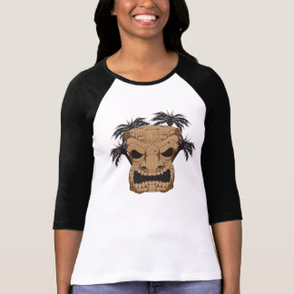 "Böses Tiki, das Ladys 3/4"" Raglan-Shirt schnitzt T-Shirt"