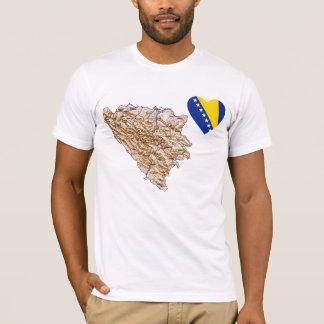 Bosnien-Herzegowinaflaggen-Herz und Karten-T - T-Shirt