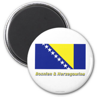 Bosnien u. Herzegowina Flagge MIT Namen Runder Magnet 5,7 Cm