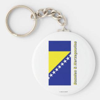 Bosnien u. Herzegowina Flagge MIT Namen Standard Runder Schlüsselanhänger