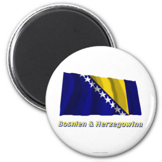 Bosnien u. Herzegowina Fliegende Flagge MIT Namen Runder Magnet 5,7 Cm