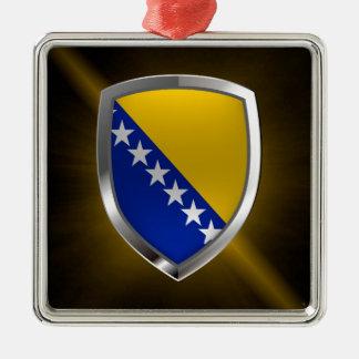 Bosnien und Herzegowina metallisches Emblem Silbernes Ornament