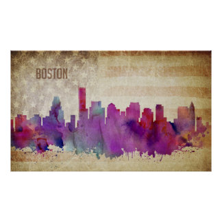 Boston, Aquarell-Stadt-Skyline MAs | Poster