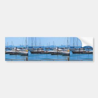Boston-Hafen-Boots-Segel-SailBoats Seeansichten Autoaufkleber