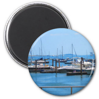 Boston-Hafen-Boots-Segel-SailBoats Seeansichten Runder Magnet 5,1 Cm