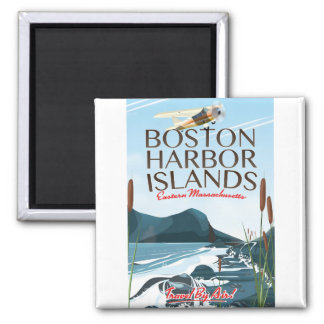 Boston-Hafen-Massachusetts-Flugplakat Quadratischer Magnet
