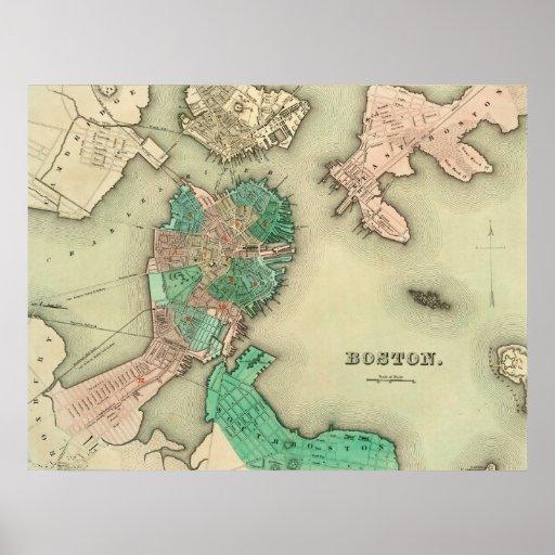 Boston-Karte - 1838 Plakat