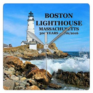 Boston-Leuchtturm, Massachusetts Quadratische Wanduhr