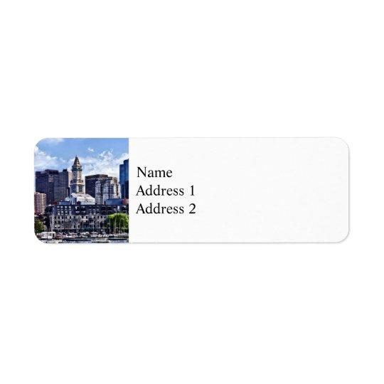 Boston MA - Skyline mit Zollamt-Turm Rücksendeetiketten