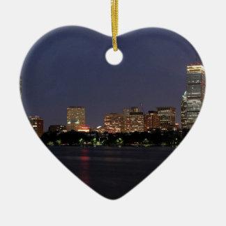 Boston-NachtSkyline Keramik Herz-Ornament