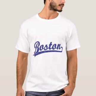 Boston-Skriptlogo im Blau T-Shirt