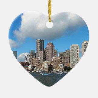 Boston-Skyline Keramik Herz-Ornament