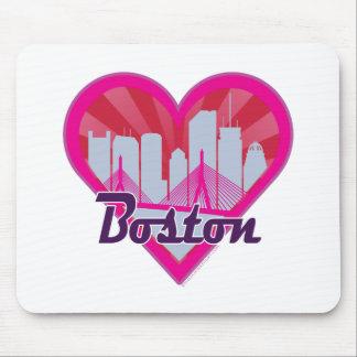 Boston-Skyline-Sonnendurchbruch-Herz Mauspad