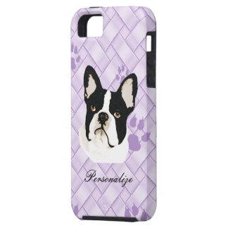 Boston-Terrier auf Lavendel-Webart w/pawprints Schutzhülle Fürs iPhone 5
