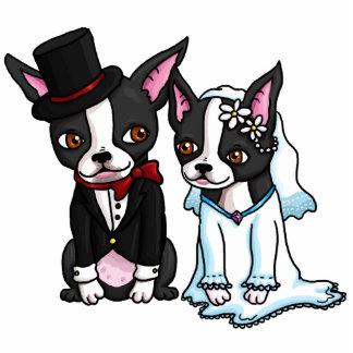 Boston-Terrier-Braut-und Bräutigam-Foto-Skulptur Freistehende Fotoskulptur