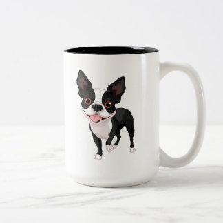 Boston-Terrier-große Kaffeetasse-Tasse Zweifarbige Tasse