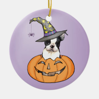 Boston Terrier Halloween Rundes Keramik Ornament