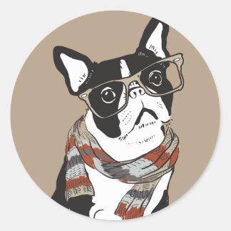 Boston-Terrier, Hipster-Tier, Hipster-Hund Runder Aufkleber