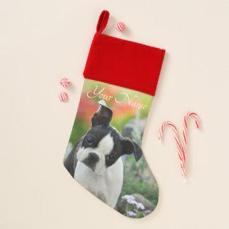 Boston-Terrier-Hundeniedlicher Welpen-Tierkopf - Weihnachtsstrumpf