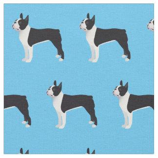 Boston-Terrier-HundeSilhouette deckte Gewebe mit Stoff