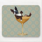 Boston Terrier im Cocktail-Glas Mousepad