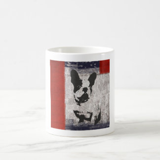 Boston Terrier in Schwarzweiss mit roter Grenze Kaffeetasse