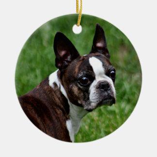 Boston-Terrier Keramik Ornament