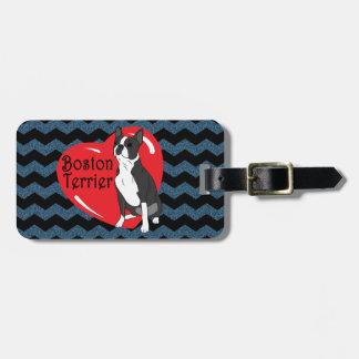 Boston-Terrier-Liebe-Herz - blaues Schwarzes Kofferanhänger