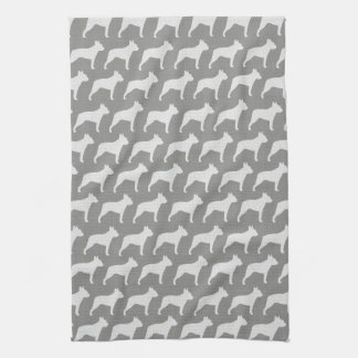 Boston-Terrier-Silhouette-Muster-Grau Geschirrtuch