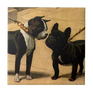Boston Terrier und französische Bulldogge Fliese
