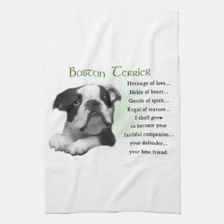 Boston-Terrier-Welpen-Erbe der Liebe Geschirrtuch