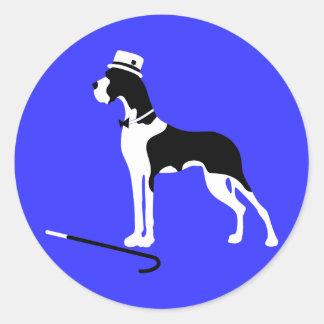 Boston-Umhang-Deutsche Dogge Runder Aufkleber