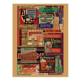 Bostonmatchbook-Abdeckungscollage Postkarte