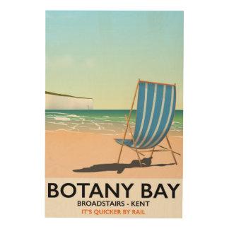 Botanik-Bucht, Broadstairs Kent Strand-Reiseplakat Holzdruck