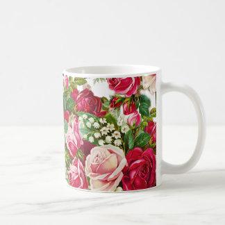 Botanische Blumen der Vintagen roten Kaffeetasse