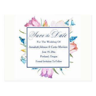 """Botanische Blumen """"Save the Date """" Postkarte"""