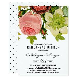 Botanische Blumen-Vintages Verlobungs-Party 12,7 X 17,8 Cm Einladungskarte