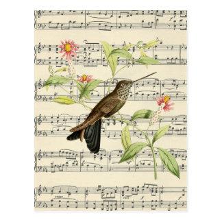 botanische Kolibrimusik der Vintagen Postkarte