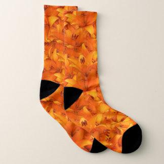 Botanische orange Garten-mit Blumenlilien Socken