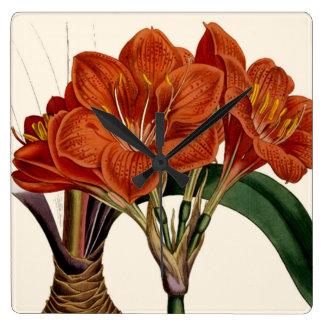 Botanische Tasche Blumen-Curtis Quadratische Wanduhr