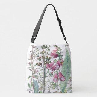 Botanische Vintage Fingerhut-Blumen-Taschen-Tasche Tragetaschen Mit Langen Trägern