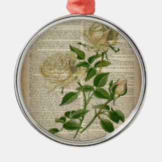 botanische weiße Rose des französischen Landes des Silbernes Ornament