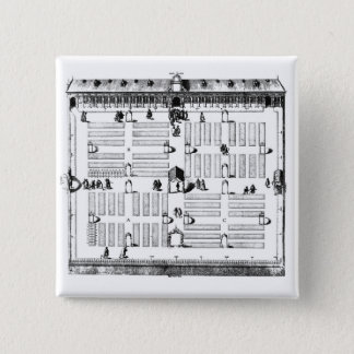 Botanischer Garten Leidens (Stich) (b/w Foto) Quadratischer Button 5,1 Cm