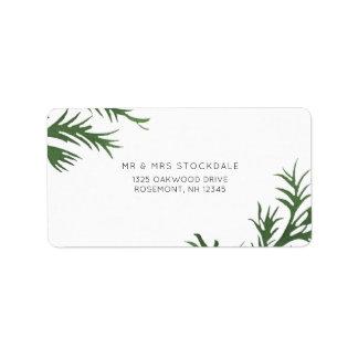 Botanischer Hochzeits-Rückkehr-Aufkleber Adressaufkleber