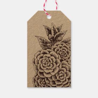 Botanischer Kraftpapier-Geschenk-Umbau Geschenkanhänger