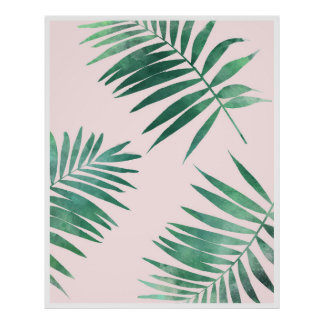 Botanischer Plakatdruck des Grüns und des Rosas Poster