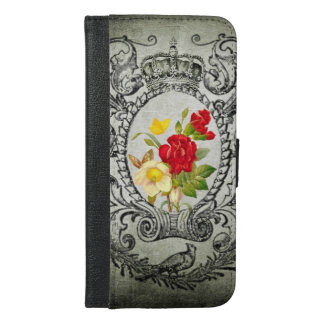 botanischer Rahmen roter yellowroses iPhone 6/6s Plus Geldbeutel Hülle