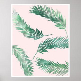 Botanischer rosa und grüner Naturplakatdruck Poster